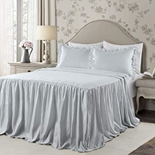 Lush Decor Lake Blue Ticking Stripe Bedspread Shabby Chic Farmhouse Style Lightweight 2 Piece Set Twin