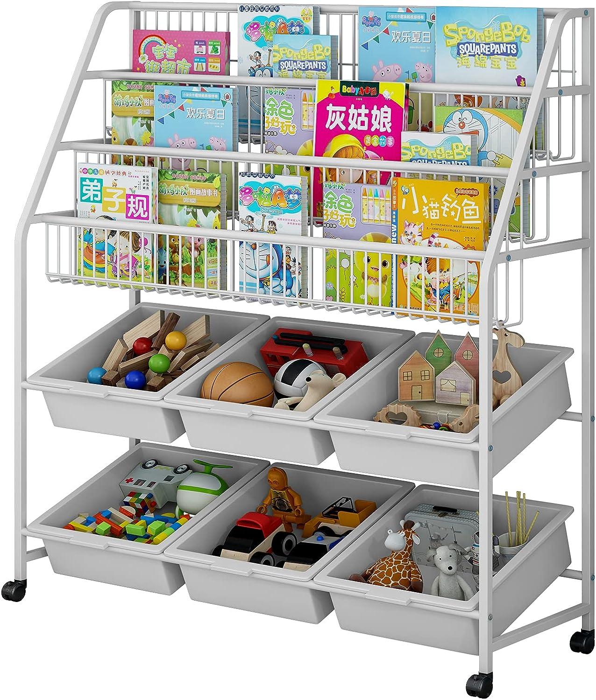 LINZINAR Bookshelf Iron Toy Organizer 3 Tier Mobile 3Tier-6Box, White