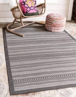 Unique Loom Outdoor Border Collection Striped Moroccan Transitional Indoor and Outdoor Flatweave Gray  Area Rug (4' 0 x 6' 0)