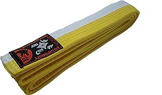 Ju-Sports–Cinturón de color blanco de semi Amarillo de mitad de rayas