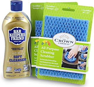 BAR KEEPERS FRIEND Soft Cleanser (13 OZ) with All Purpose Scrubber Cloth | Durable and Multipurpose. Cleans Stainless Steel, Rust, Minerals