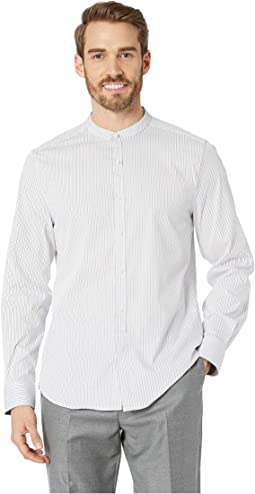 Band Collar Stripe Shirt