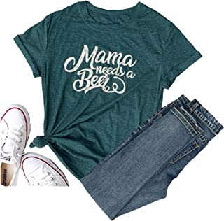Mama Needs a Beer Graphic Letter Print Funny T Shirt O-Neck Short Sleeve Causal Tee Tops Blouse