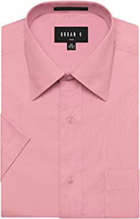 URBAN K Men's Classic Fit Solid Formal Collar Short Sleeve Dress Shirts Regular & Plus Size ¡¦