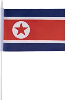 Juvale North Korea Stick Flags - 72-Piece Hand-Held North Korean Flags on Stick with Spearhead Tip, 5.5 x 7.8 Inches