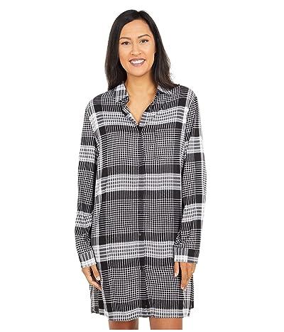 Donna Karan Sleepwear Flannel Sleepshirt (Black Plaid) Women