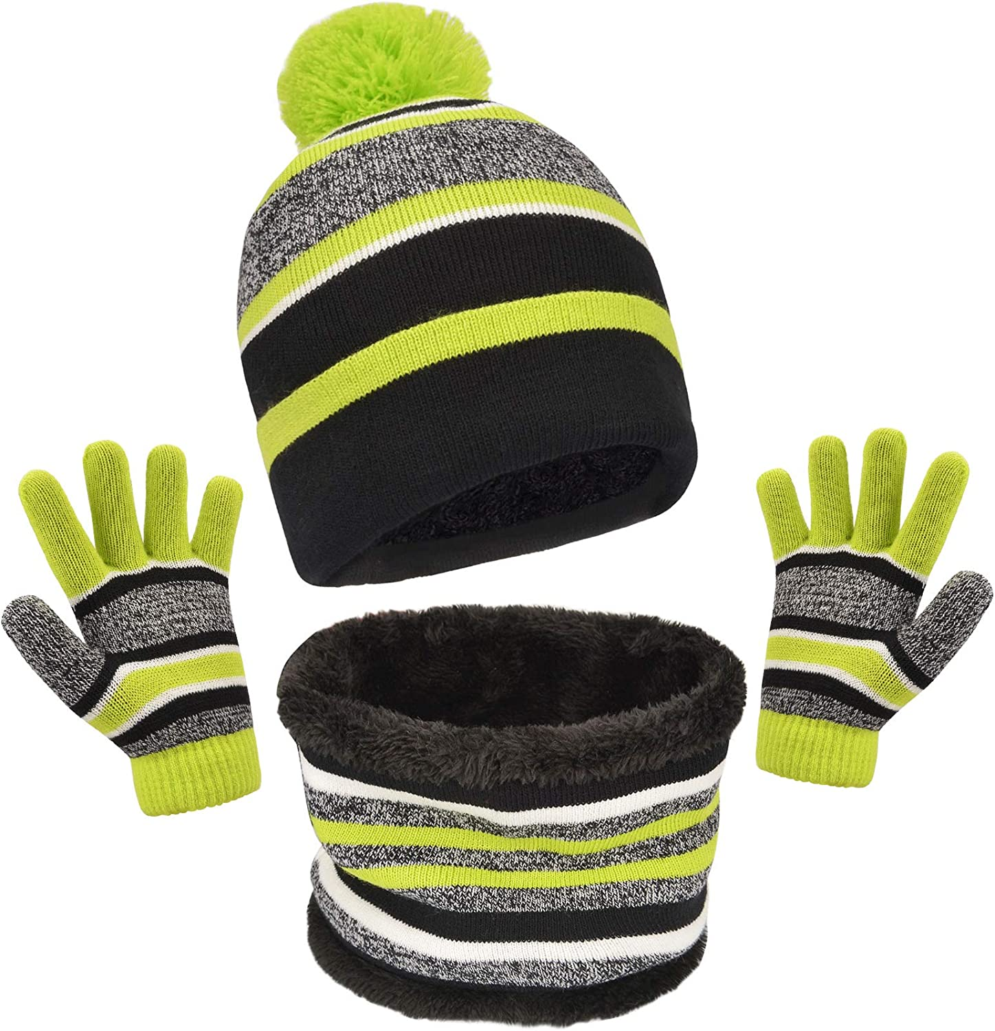 Striped Pom Beanie Glove Neck Warmer Maylisacc Winter Kids Hat Scarf and Gloves 3Pcs Set for Boys and Girls Toddler Age 3-6
