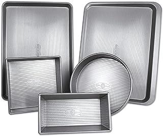 USA Pan 1360STAZ Bakeware فولاد آلومینیوم 5 قطعه نیمه ، ورق کوکی ، قره ، مربع ، مربع ، تابه گرد
