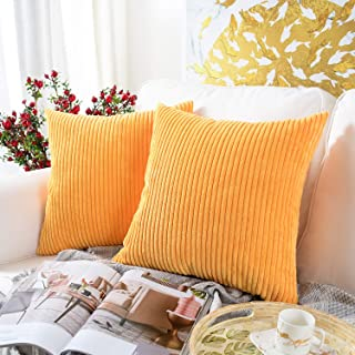 MERNETTE Pack of 2, Corduroy Soft Decorative Square Throw Pillow Cover Cushion Covers Pillowcase, Home Decor Decorations for Sofa Couch Bed Chair 26x26 Inch/65x65 cm (Striped Turmeric)