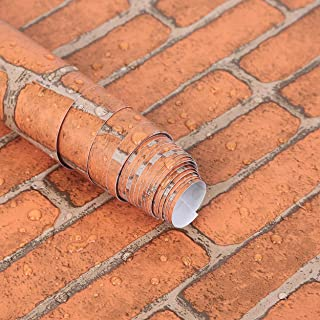 """17.71"""" x 393"""" Vintage Red Brick Wallpaper Peel and Stick Wallpaper Self Adhesive Faux Brick Paper Removable Contact Paper ..."""