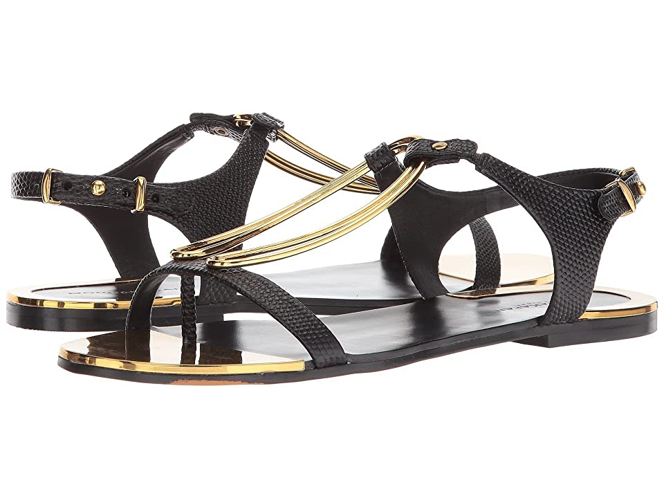 Donna Karan Kaden Sandal (Black Two-Tone Embossed Lizard) Women