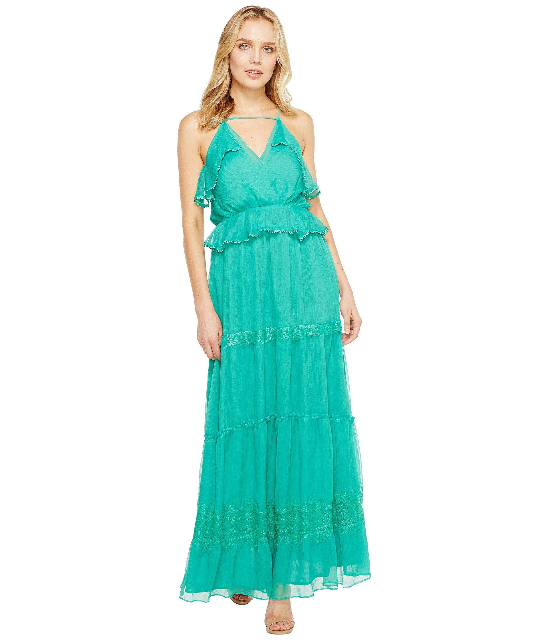 Frill Maxi Dress - Emerald Adelyn Rae