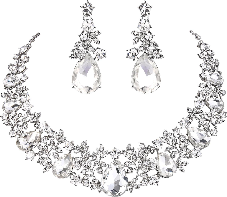 BriLove Women's Wedding Bridal Crystal Cluster Leaf Vine Teardrop Statement Necklace Dangle Earrings Set