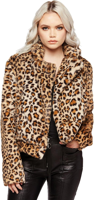 Women's Leopard Cheetah Animal Print Faux Fur Short Coat Warm Plush Jacket