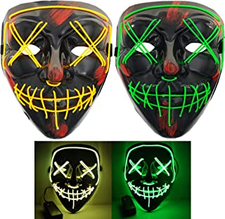 Halloween LED Light Mask for Festival Cosplay Costume Masquerade Party(2 Pack)