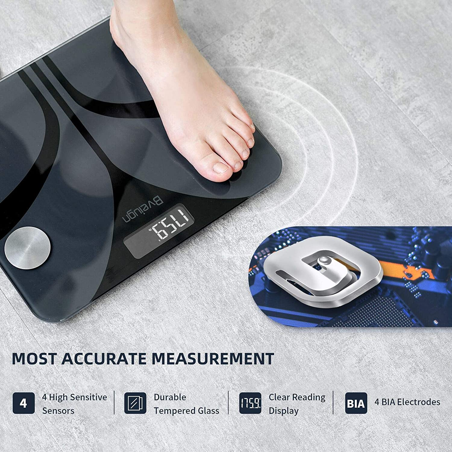 Scale for Body Weight, Bveiugn Digital Bathroom Wireless Fat Smart BMI Body Composition Analyzer Health Monitor Sync 13 Data with Other Fitness Apps