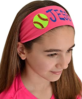 Personalized Embroidered SOFTBALL Patch Cotton Stretch Headband CHOOSE YOUR CUSTOM COLORS FROM CHARTS IN THIS LISTING