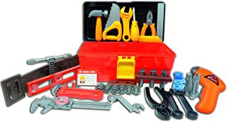 Deluxe Toy Tool Set for Toddlers TG668 – Fun Tool Box Kit for Boys with 40 Pieces Including Battery Powered Drill - Tool Set for Toddlers & Boys by ThinkGizmos (Trademark Protected)