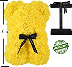 Rose Bear Hand Made Teddy Bear Rose Bear Rose Teddy Bear - Gift for Mothers Day, Valentines Day, Anniversary & Bridal Showers Weddings Clear Gift Box 10 inch (Yellow)