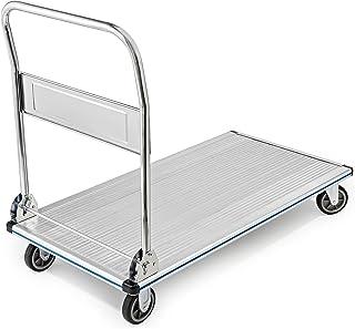 "AdirOffice Folding Aluminum Platform Truck - Flatbed Cart - Single Handle - 5"" Non-Marking Polyurethane Casters - 600 lbs Capacity - 48`` x 24``"