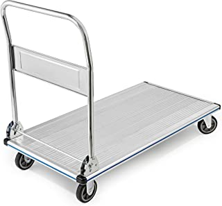 AdirOffice Folding Aluminum Platform Truck - Flatbed Cart - Single Handle - 5