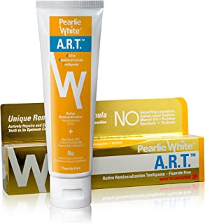 Pearlie White Active Remineralization Toothpaste - Fluoride Free (3.8oz, 110gm) - Remineralizing Toothpaste for Tooth Enam...