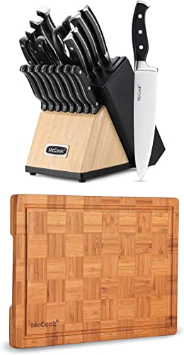 """popular McCook sale MC65 German Stainless Steel Kitchen Knives Block Set with Pull-Away Steak Block and Built-in outlet sale Knife Sharpener + MCW12 Bamboo Cutting Board (Small, 14""""x10""""x0.8"""") sale"""