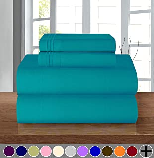 Elegant Comfort Luxury Soft 1500 Thread Count Egyptian Quality 3-Piece Sheet Wrinkle and Fade Resistant Bedding Set, Deep Pocket up to 16inch, Twin/Twin XL, Turquoise