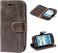 Mulbess Galaxy S3 Mini Protective Cover, Magnetic Closure RFID Blocking Luxury Flip Folio Leather Wallet Phone Case with Card Slots and Kickstand for Samsung Galaxy S3 Mini, Coffee Brown
