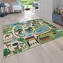 Vloerkleed Kinderkamer, Speelvloerkleed Voor Kinderkamer, Dierentuin Met Tijger, Beer, Leeuw, Bont, Maat:140x200 cm