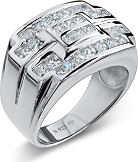 Men's Sterling Silver .925 Ring Featuring 26 Channel Set Square Cubic Zirconia Stones, Platinum Plated