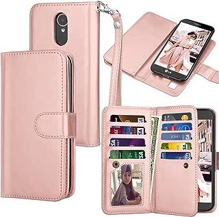 Tekcoo Compatible for LG K20 V/LG K20 Plus/LG Harmony/LG Grace/LG V5 / K10 2017 PU Leather Wallet Case, Luxury ID Credit Card Slots Holder Flip Cover [Detachable Magnetic Hard Case] -Rose Gold