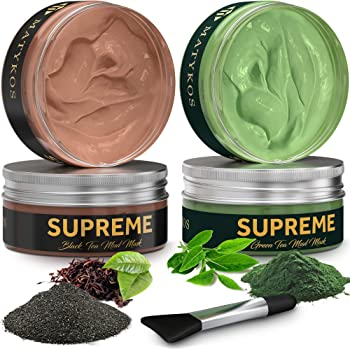 Organic Black and Green Tea Face Clay Mask by Matykos - Natural Soothing Wash-Off Hydrating Matcha Avocado Facial Masks - Cleanse and Detoxify Your Skin Day and Night - Vegan Facial Treatment, Cruelty-Free, Artificial Fragrance Free, No-Petroleum or Alcohol