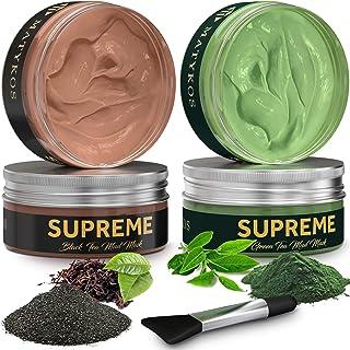 Organic Black and Green Tea Face Clay Mask by Matykos - Natural Soothing Wash-Off Matcha Avocado Facial Masks - Cleanse an...