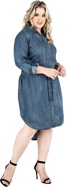 Standards & Practices Plus Size Tencel Shirt Dress bluee