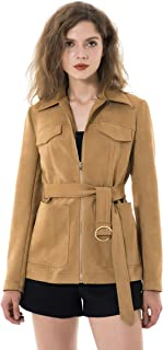 Apperloth Faux Suede Jackets for Women Long Sleeve Zipper Midi Trench Coat with Belt