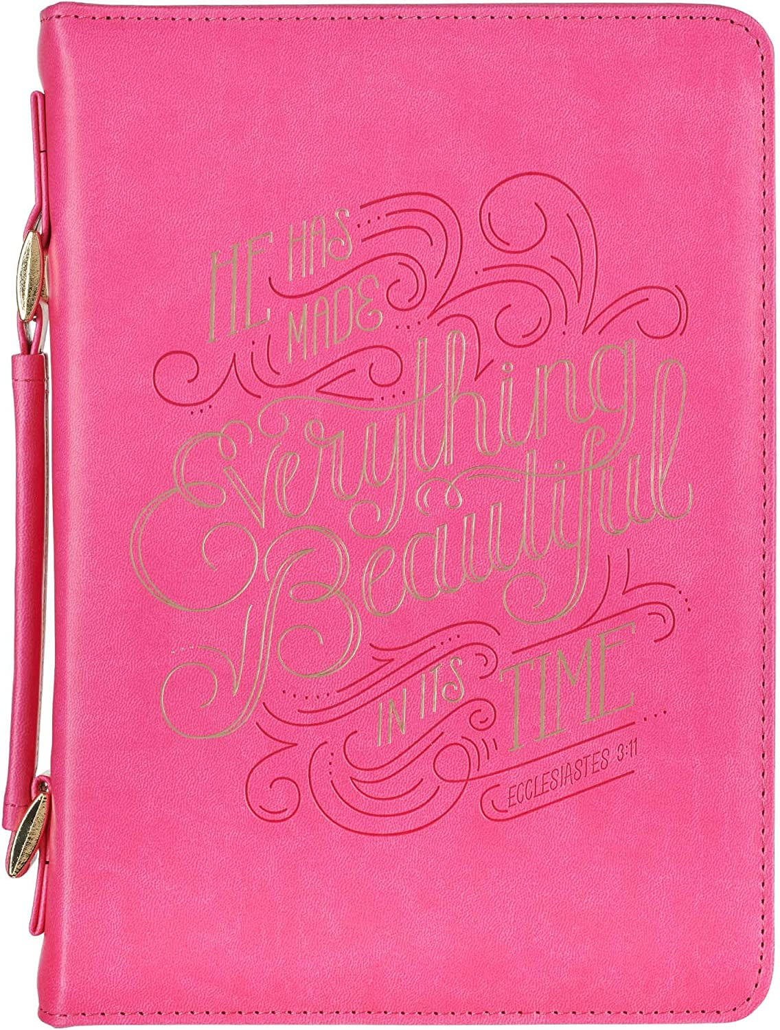 Bible Case//Book Cover Everything Beautiful Ecclesiastes 3:11 Medium Pink Fashion Bible Cover for Women Faux Leather