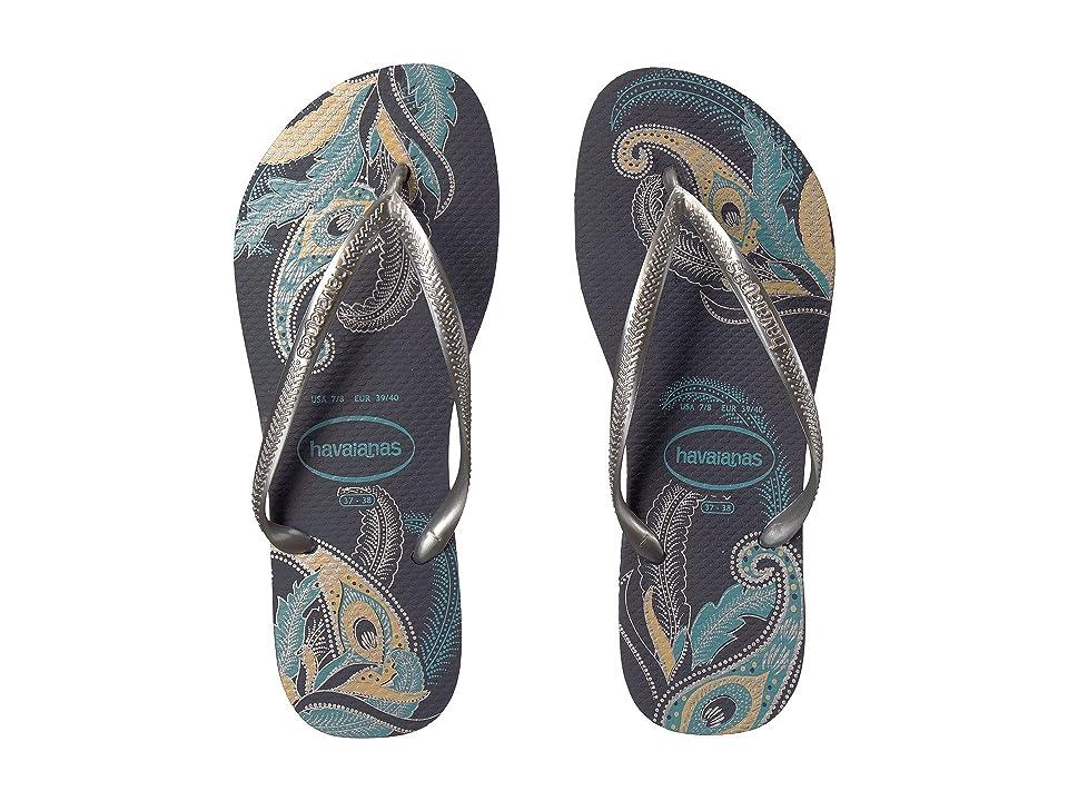 Havaianas Slim Organic Flip Flops (Navy Blue/Silver) Women
