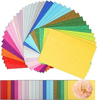 Décorations de la Fête Naler 200 pcs Papier de soie coloré, 20 couleurs assorties A4 taille gsm papier pour Artisanat, pap...