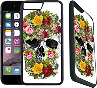 [TeleSkins] - Rubber Designer Case For iPhone 7 Plus/iPhone 8 Plus -Vintage Flower Skull Sugar Skull - Ultra Durable Slim Fit, Protective Plastic with Soft RUBBER TPU Snap On Back Case/Cover.