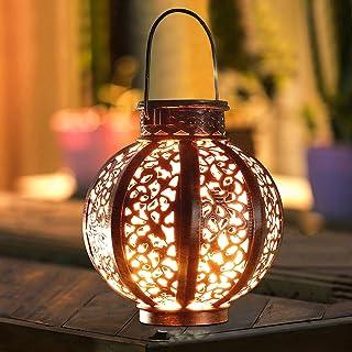 Hanging Solar Lanterns Retro Solar Lights with Handle, Outdoor Solar Garden Lights Decor for Yard Tree Fence Patio 6 Lumen...