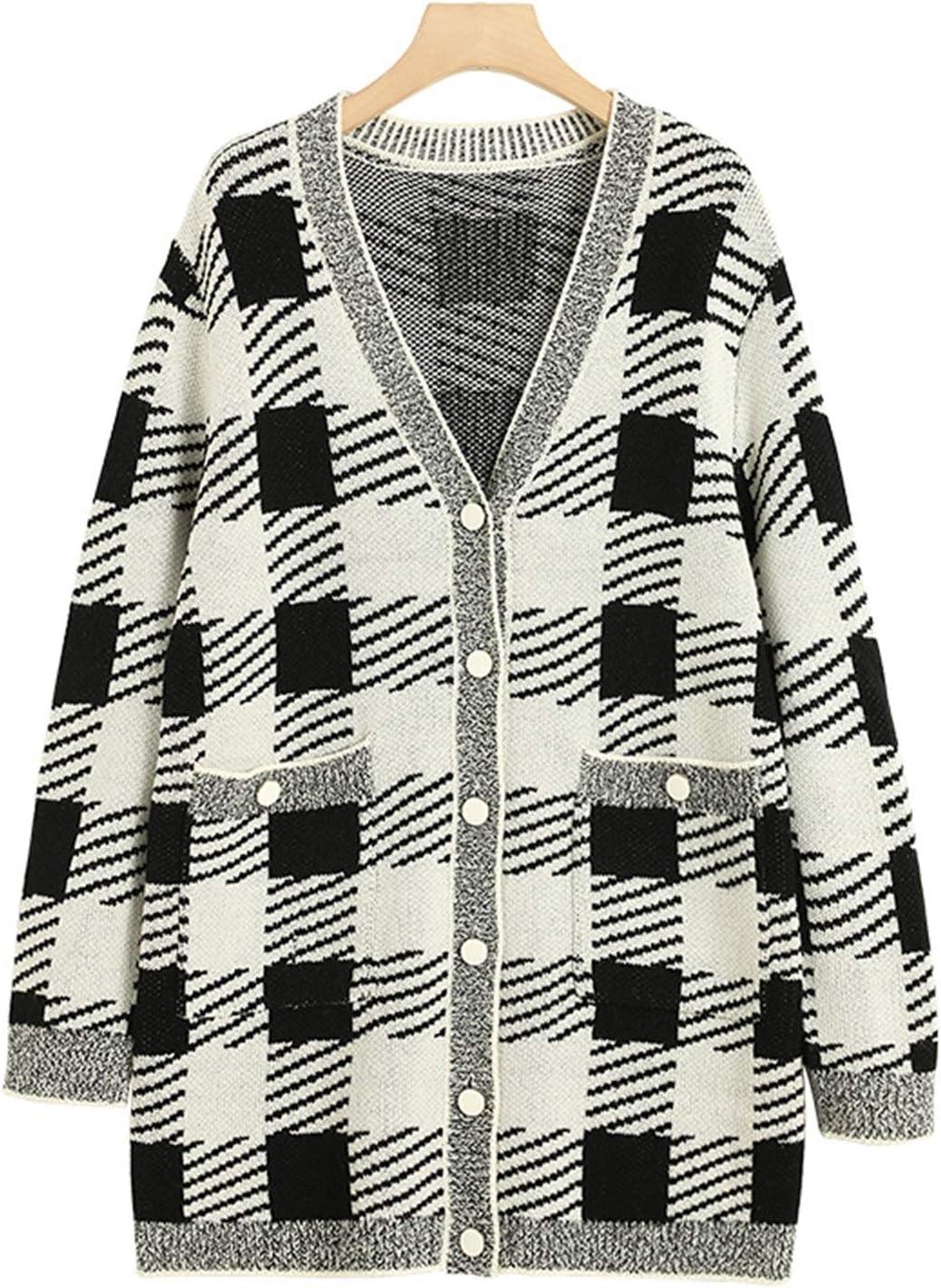 KEJI Beautiful Plaid Cardigan Jackets Autumn Raleigh Mall Thick Women Max 55% OFF Sweater