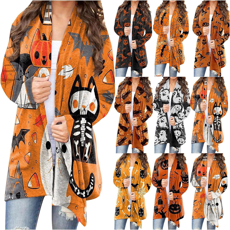 Womens Halloween Long Sleeves Cardigan Funny Cat Pumpkin Bat Ghost Print Open Front Sweaters Fashion Coat Outwear Blouse