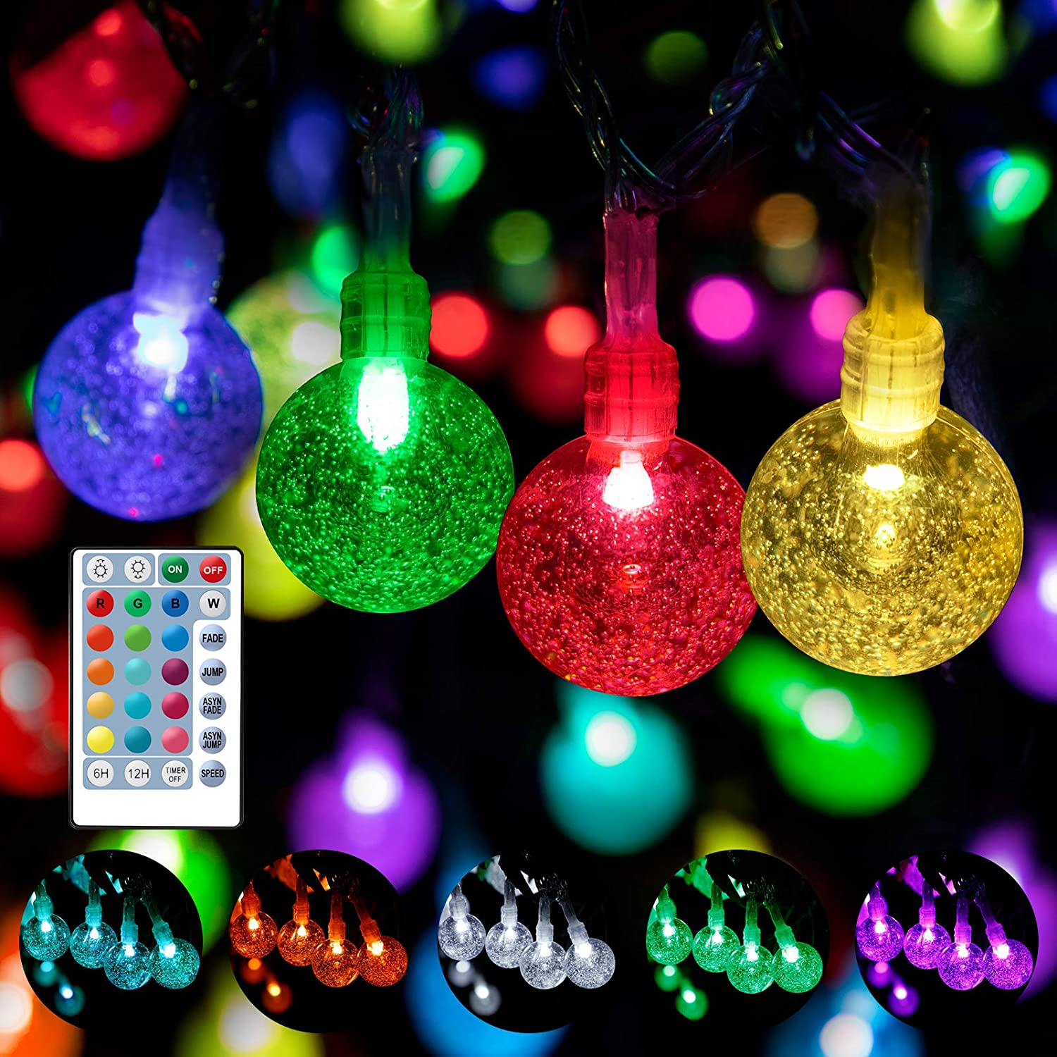 WENFENG 80FT 125 LED 16 Color Waterproof Globe Outdoor String Lights -Indoor Bedroom Crystal Ball Fairy Lights with Remote -Patio Garden Wedding Party Christmas Decorations (RGB&Warm White)