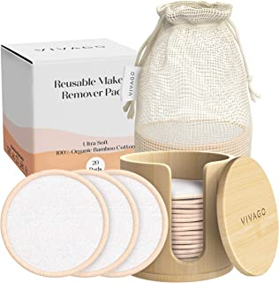 VIVAGO Reusable Makeup Remover Pads - 20 Pieces Soft Organic Cotton Rounds with Washable Drawstring Laundry Bag & Bamboo H...
