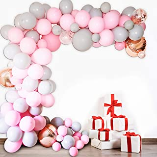 Premium Quality Balloon Garland Kit and Balloon Arch with Pink, Gray, Rose Gold, Confetti Balloons| Great Decoration for a Holiday, Wedding, Baby Shower, Birthday, and Anniversary Celebration