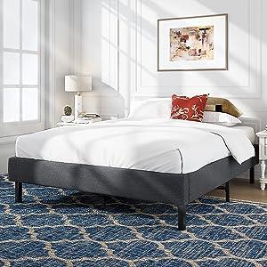 Allewie Upholstered Platform Bed Frame / Mattress Foundation / No Box Spring Needed / Wood Slat Support / Easy Assembly / Grey, Full