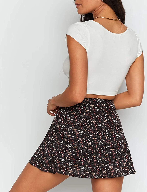 Uaneo Womens Printed High Waist A Line Casual Mini Skater Skirts