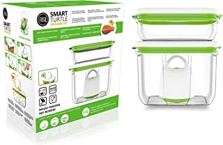FOSA Vacuum Seal Food Storage System Reusable Container Starter Set with Vacuum and 2 Large Reusable containers