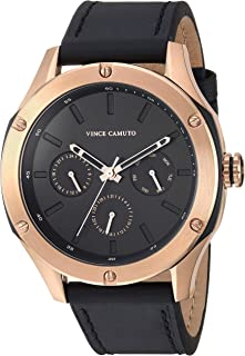 Men's Multi-Function Rose Gold-Tone and Black Leather Strap Watch